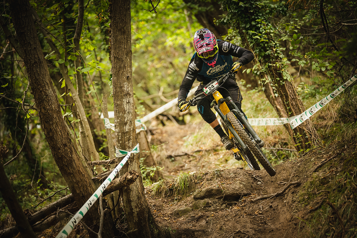 Elliott Heap racing in Pietra Ligure EWS