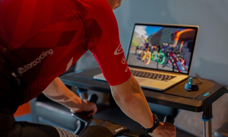 A rider using the Zwift online riding platform.