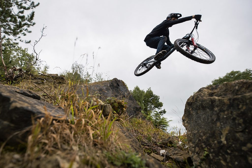 Nukeproof Reactor being jumped