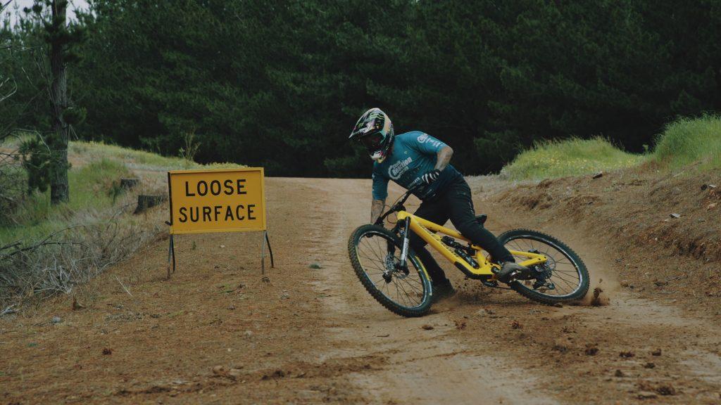 Sam Hill shredding his Nukeproof Mega 290c at the Lingalonga bike park