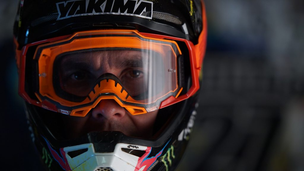 Sam Hill wearing his 100% goggles